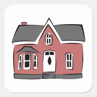 Pegatina Cuadrada Pequeña casa