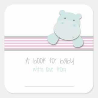 Pegatina Cuadrada Pequeño hipopótamo - libro para los Bookplates del