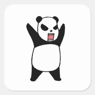 Pegatina Cuadrada Pequeño panda enojado