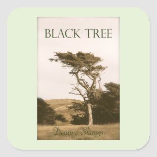 Pegatina Cuadrada Pequeños pegatinas cuadrados del árbol negro