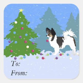 Pegatina Cuadrada Perro de Papillon que adorna el árbol de navidad