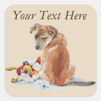 Pegatina Cuadrada perro de perrito lindo con la expresión triste y