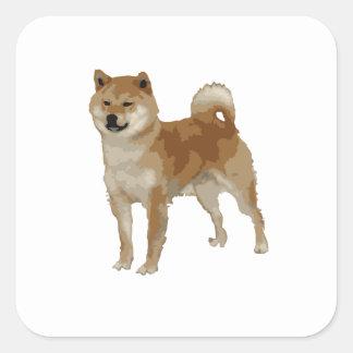 Pegatina Cuadrada Perro de Shiba Inu