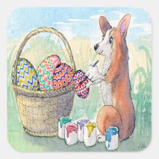 Pegatina Cuadrada Perro del Corgi que pinta los huevos de Pascua,