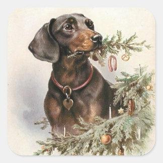 Pegatina Cuadrada Perro del Dachshund del navidad del vintage
