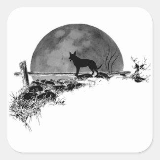 Pegatina Cuadrada Perro iluminado por la luna