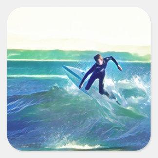 Pegatina Cuadrada Persona que practica surf