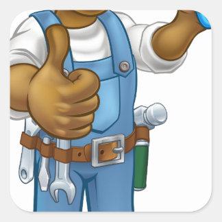 Pegatina Cuadrada Personaje de dibujos animados negro del decorador
