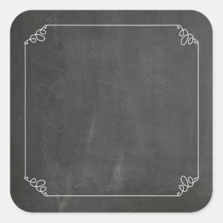 Pegatina Cuadrada Personalizar blanco del marco del Flourish del