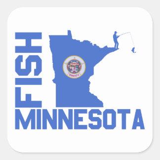 Pegatina Cuadrada Pescados Minnesota