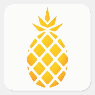 Pegatina Cuadrada Piña de oro del Hawaiian de la plantilla
