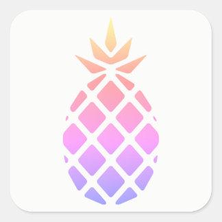 Pegatina Cuadrada Piña en colores pastel del Hawaiian de la