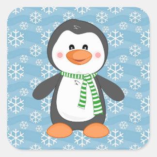Pegatina Cuadrada Pingüino lindo del invierno con los pegatinas del
