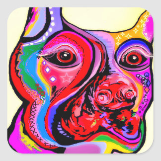 Pegatina Cuadrada Pinscher del Doberman en colores brillantes