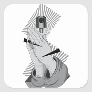 Pegatina Cuadrada Pintada de rogación de las manos