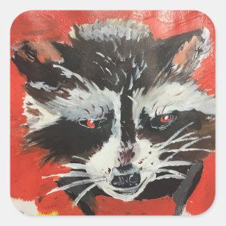 Pegatina Cuadrada Pintura artística del Racoon rojo
