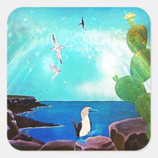 Pegatina Cuadrada Pintura azul de los pájaros de vuelo del océano