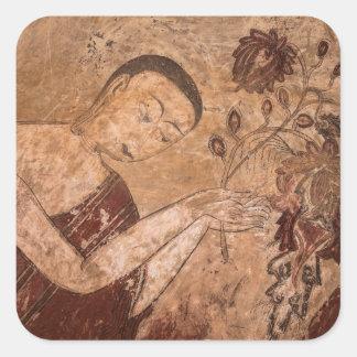 Pegatina Cuadrada Pintura budista antigua