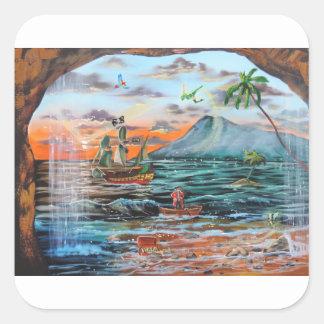Pegatina Cuadrada Pintura de Bell del chapucero de la ensenada del