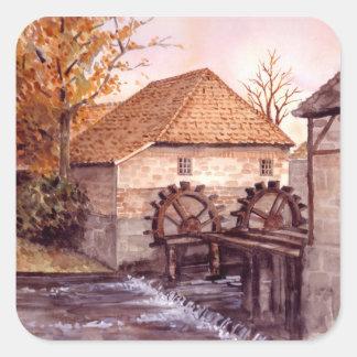 Pegatina Cuadrada Pintura de la acuarela de Watermill por la pradera