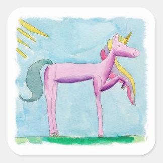 Pegatina Cuadrada Pintura infantil de la acuarela con el caballo del