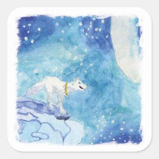 Pegatina Cuadrada Pintura infantil de la acuarela con el lobo nevoso