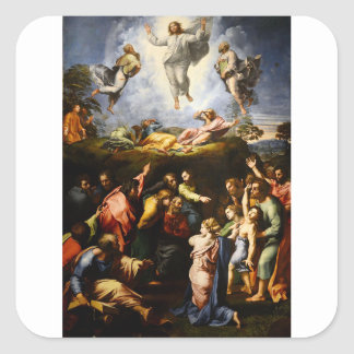 "Pegatina Cuadrada Pintura original ""la transfiguración"" Raffaello"