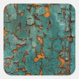 Pegatina Cuadrada Pintura verde azulada y amarilla de la peladura