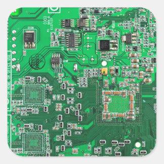 Pegatina Cuadrada Placa de circuito del friki del ordenador - verde
