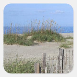 Pegatina Cuadrada Playa de Caswell, tierra del NC y paisaje marino