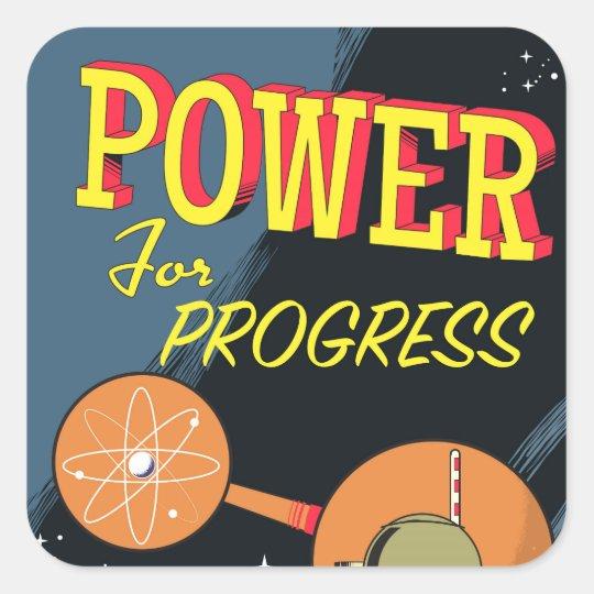Pegatina Cuadrada Poder para el poster atómico del vintage del