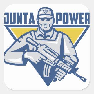 Pegatina Cuadrada Poder ucraniano de la junta del ejército