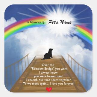 Pegatina Cuadrada Poema conmemorativo del puente del arco iris para