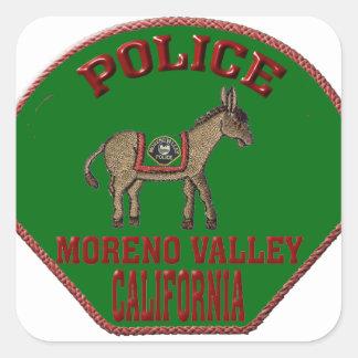 Pegatina Cuadrada Policía de Moreno Valley