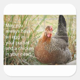 Pegatina Cuadrada pollo en su corazón