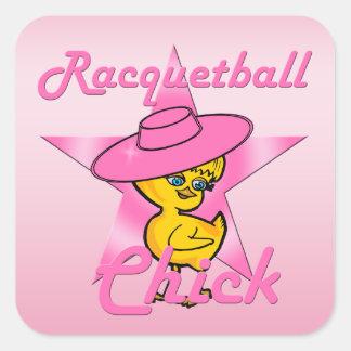 Pegatina Cuadrada Polluelo #8 del Racquetball