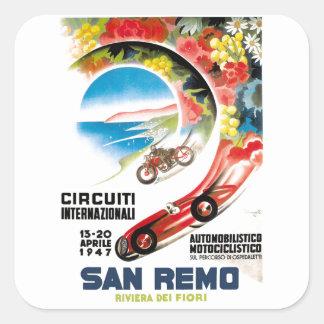 Pegatina Cuadrada Poster 1947 de la raza de San Remo Grand Prix