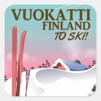 Pegatina Cuadrada Poster del esquí de Vuokatti Finlandia
