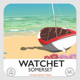 Pegatina Cuadrada Poster del tren del vintage de Watchet Somerset