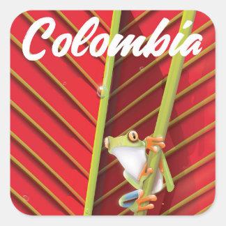 Pegatina Cuadrada Poster del viaje de la rana arbórea de Colombia