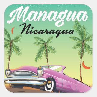 Pegatina Cuadrada Poster del viaje de Managua - de Nicaragua