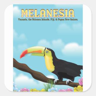 Pegatina Cuadrada Poster del viaje de Melanesia Toucan
