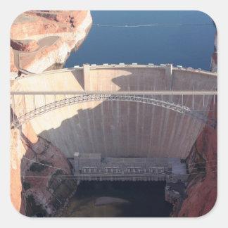 Pegatina Cuadrada Presa y puente, Arizona de Glen Canyon