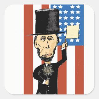 Pegatina Cuadrada Presidente Lincoln Rectangle Stickers, brillante
