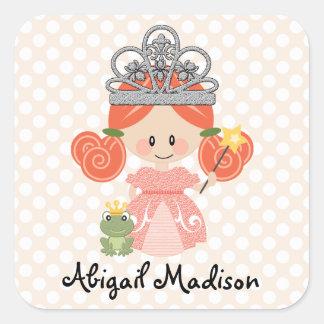 Pegatina Cuadrada Princesa de encargo Frog Sticker del Redhead