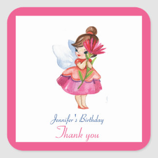 Pegatina Cuadrada Princesa de hadas LINDA Birthday de la FLOR de la