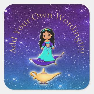 Pegatina Cuadrada Princesa de los pegatinas mágicos de los genios de