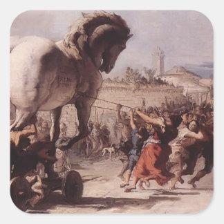 Pegatina Cuadrada Procesión de Juan Tiepolo- del Trojan Horse