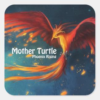 Pegatina Cuadrada Productos de la tortuga de la madre