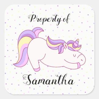 Pegatina Cuadrada Propiedad del unicornio de pegatinas con confeti